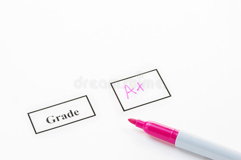 Grade A. + on paper with a felt pen royalty free stock photography