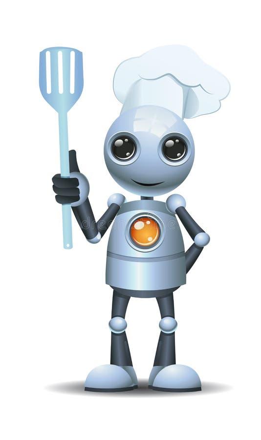 a grade pequena do cozinheiro chefe do robô mantém uma espátula pronta para grelhar ilustração stock