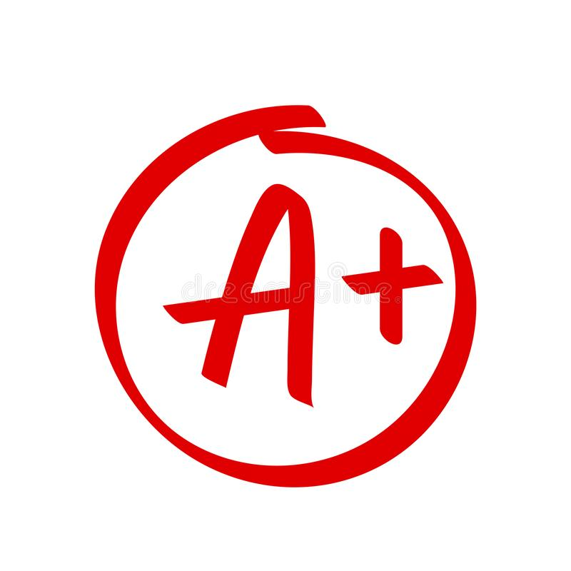 Grade A Plus result vector icon. School red mark handwriting A plus circle royalty free illustration