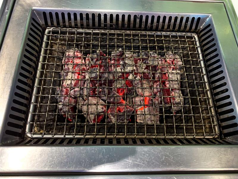 Grade quente vazia do assado do carv?o vegetal fotografia de stock