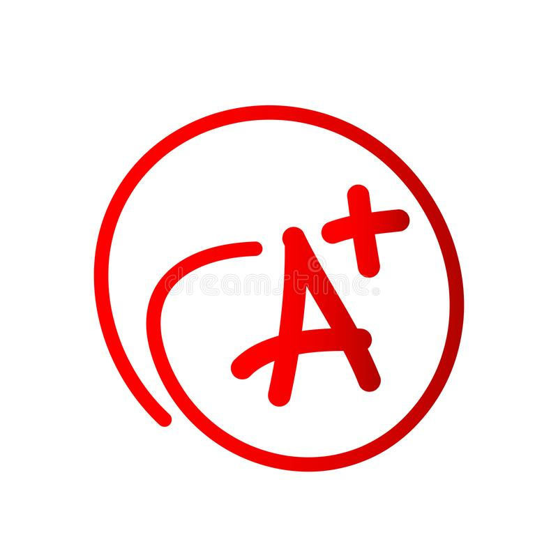 Grade result - A plus icon Hand drawn vector icon grade with plus in circle on white background. In ai 10 illustrations royalty free illustration