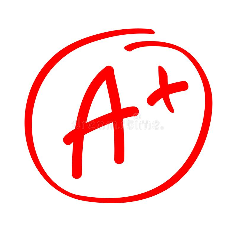 Grade result A plus. Hand drawn vector grade A plus in red circle. Test exam mark report.  stock illustration