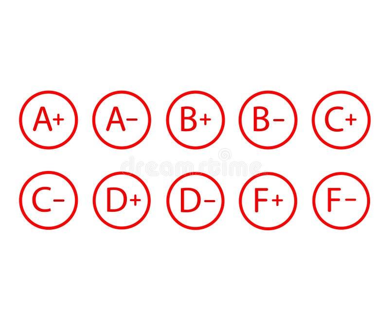 Grade results. Grade symbols vector illustration. set royalty free illustration