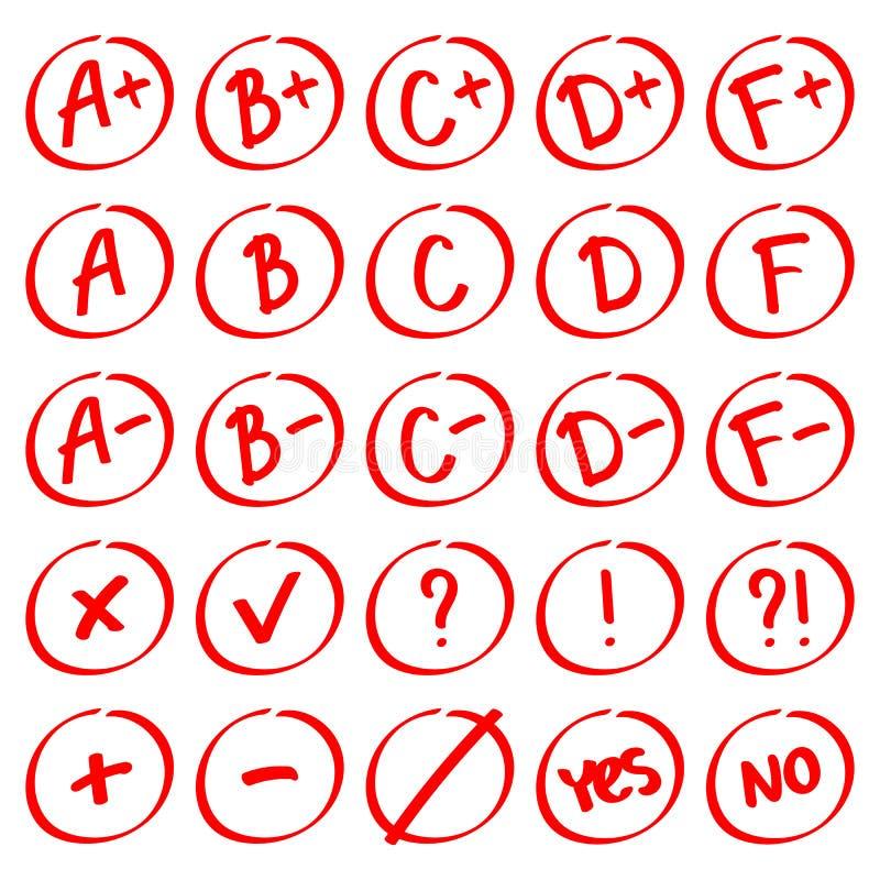 Grade results. Hand drawn vector set of grades with minuses and pluses. Grade results. Hand drawn vector set of grades with minuses and pluses in circle frame royalty free illustration