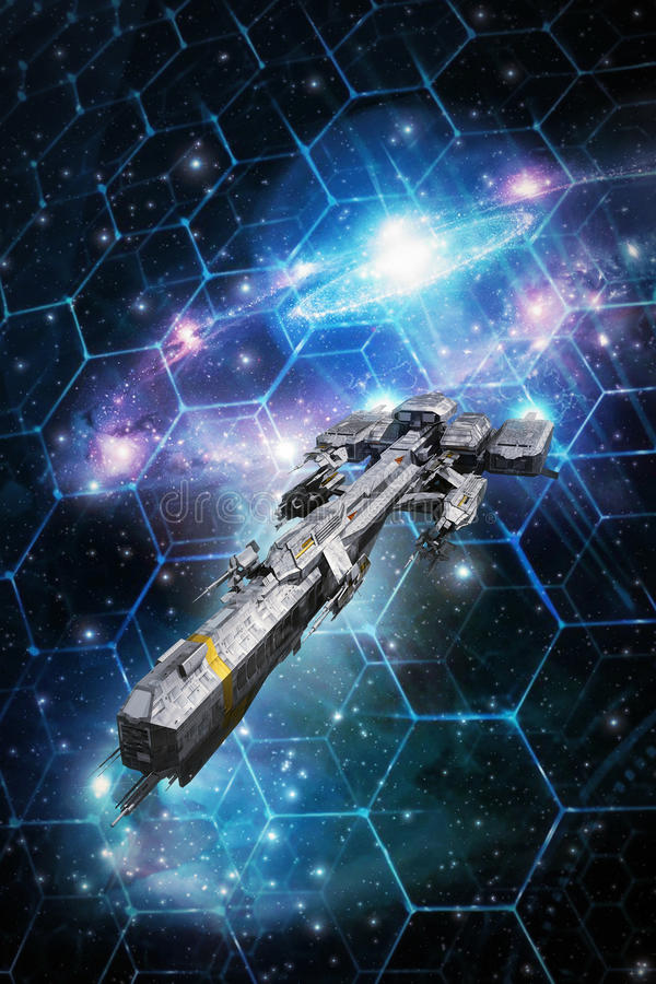Grade tática da nave espacial e do espaço ilustração royalty free