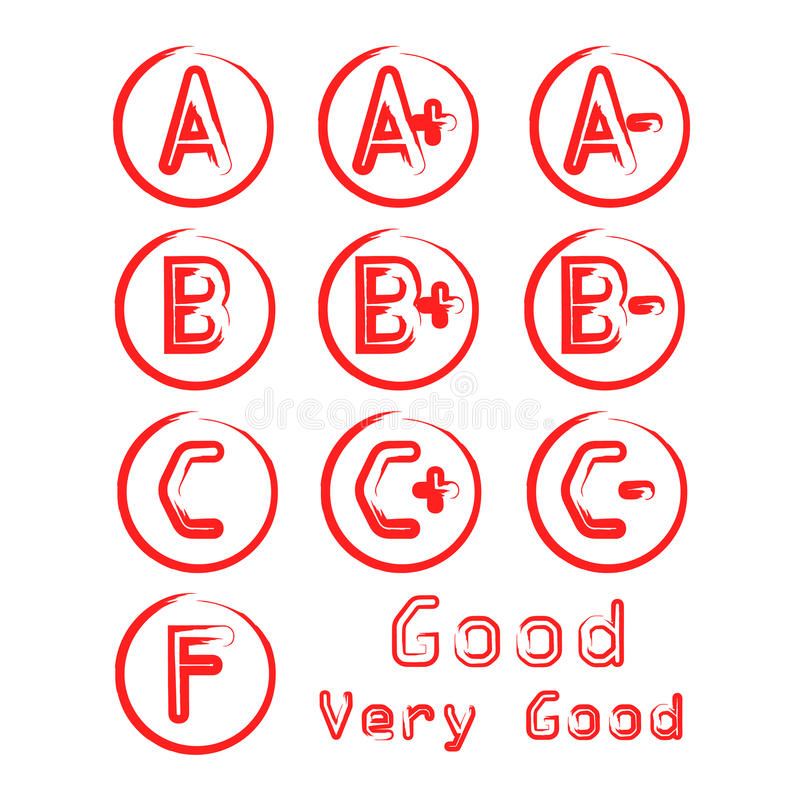 Grade Vector with Circles. Red stock illustration