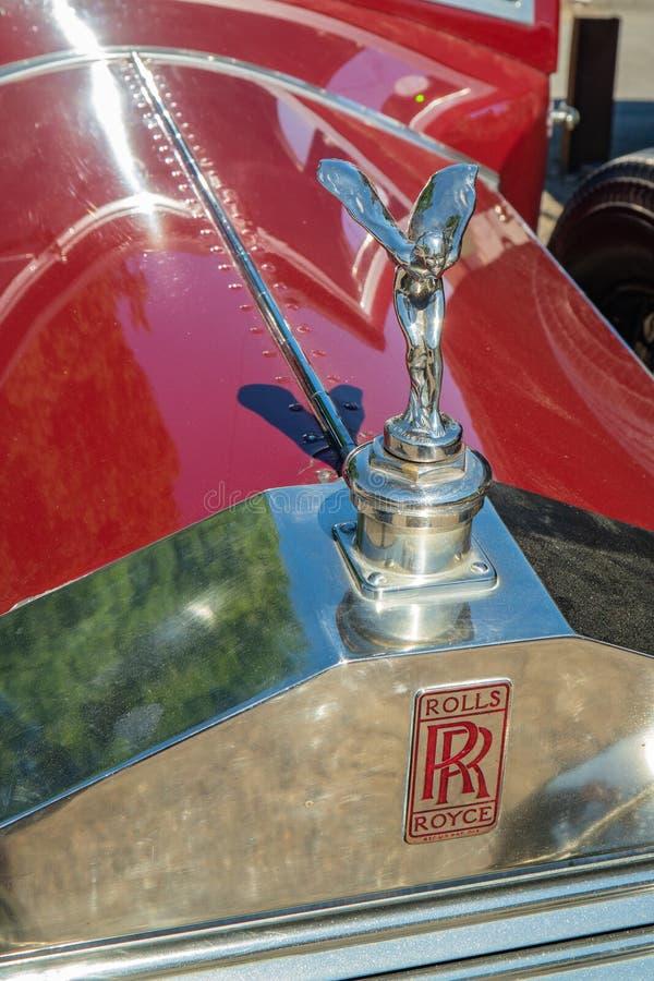 Grade vermelha do cromo de 20HP Rolls Royce fotografia de stock