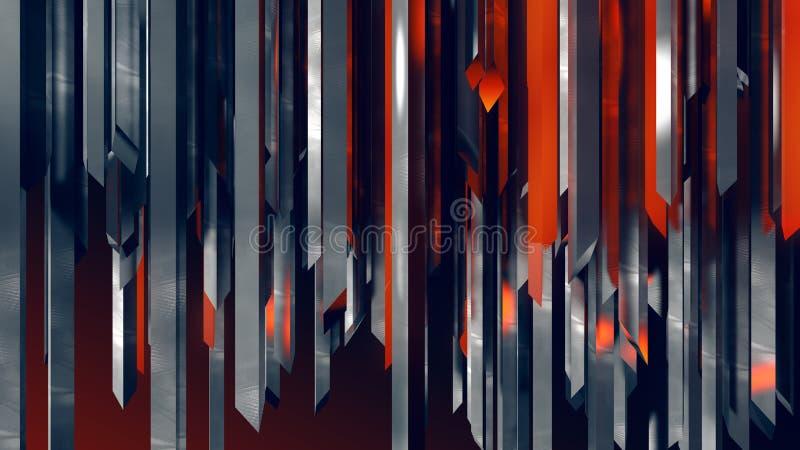 Grade vermelha vertical industrial de aço inoxidável abstrata da coluna dos cristais fotografia de stock royalty free