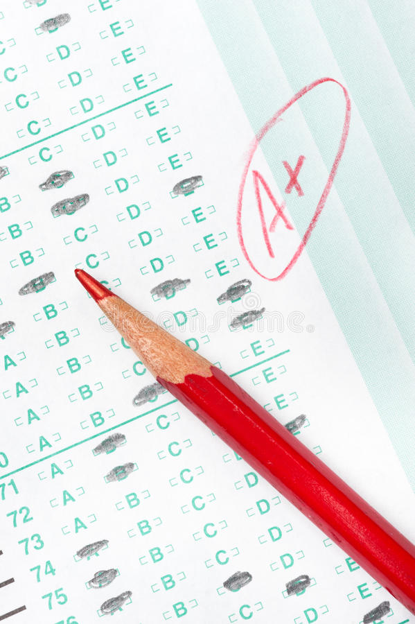 Graded test form stock image