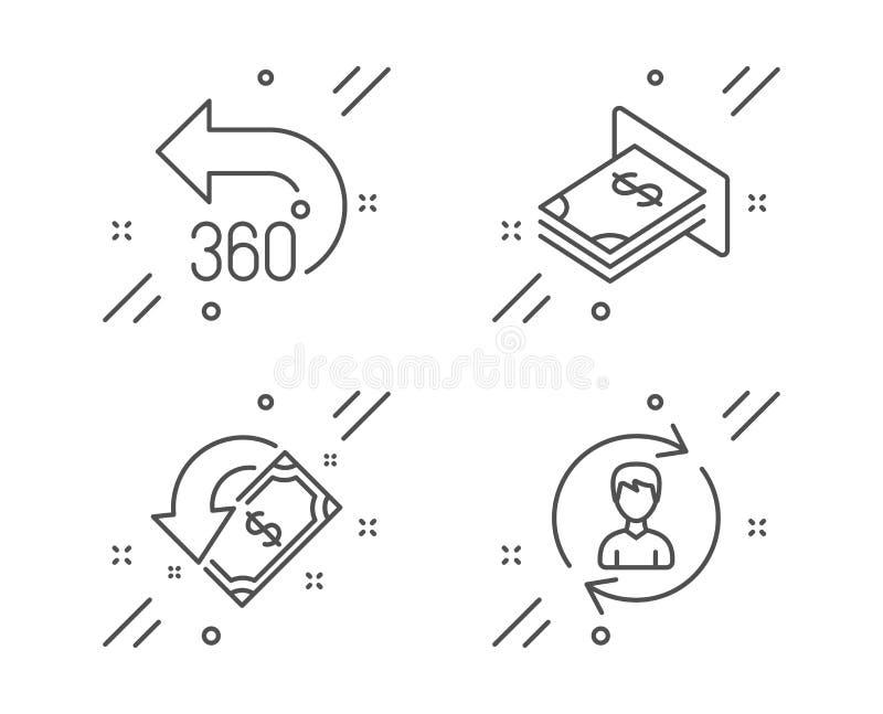360 graden, geplaatste het geldpictogrammen van Cashback en ATM- Het personeel ondertekent Vector stock illustratie