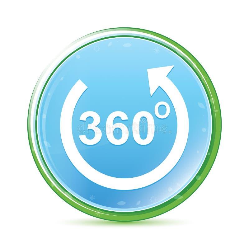 360 graden roteren natuurlijke aqua cyaan blauwe ronde knoop van het pijlpictogram royalty-vrije illustratie