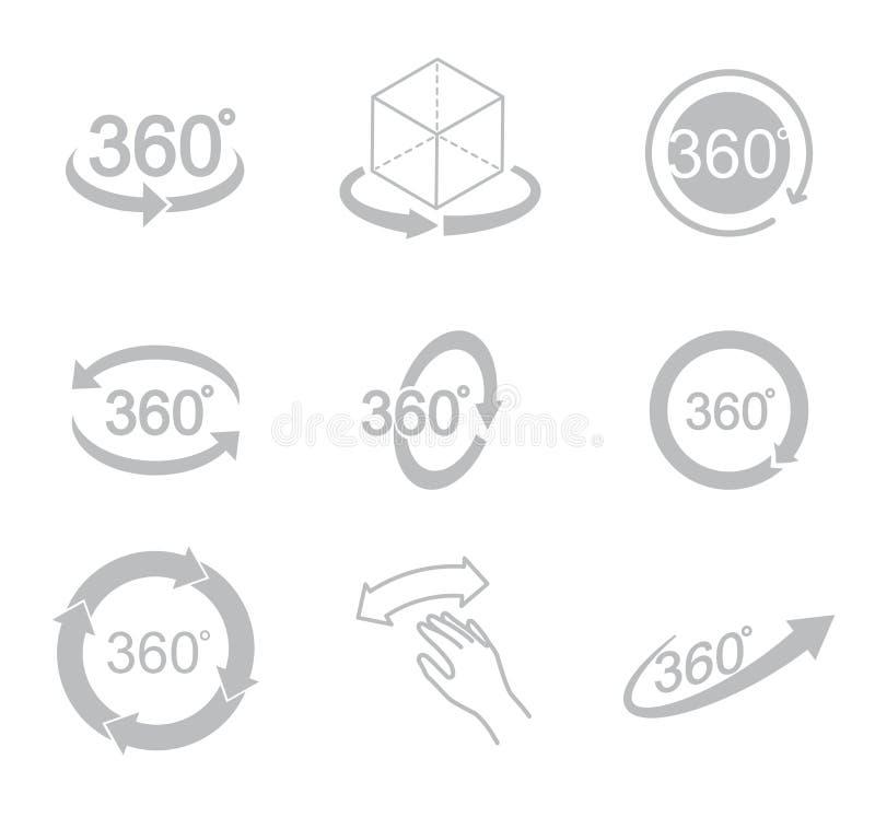 360 graden van het meningsteken het pictogram royalty-vrije illustratie