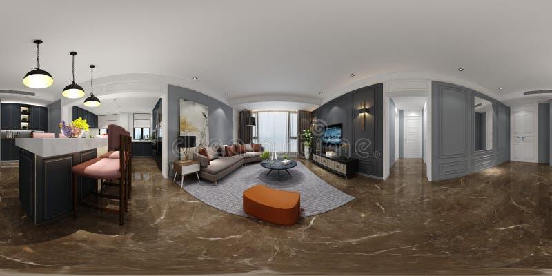 360 graden van huisbinnenland, woonkamer stock afbeelding