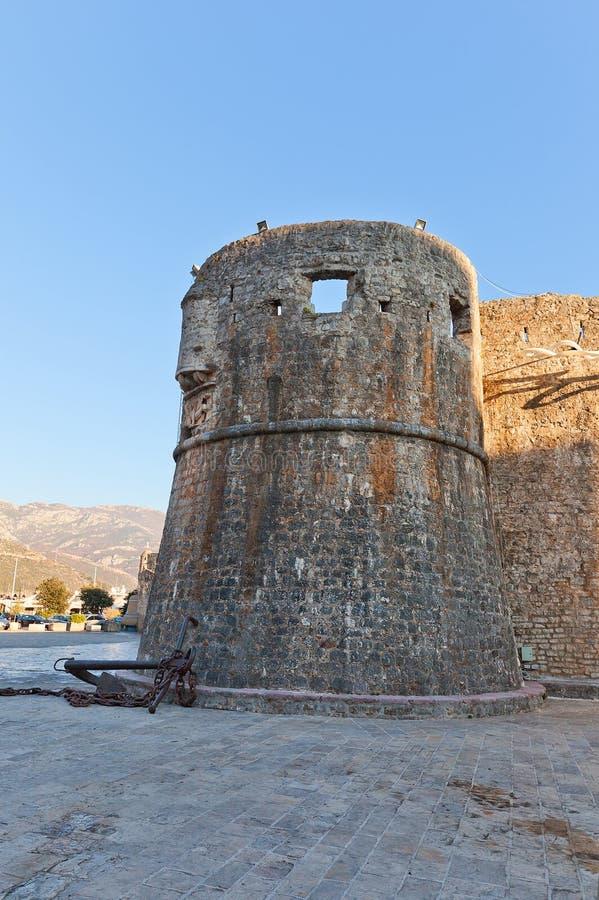 Gradenigotoren van Oude Stad van Budva, Montenegro stock afbeelding