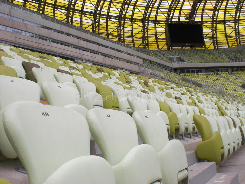 Gradería cubierta del estadio de Gdansk de la arena de PGE imagen de archivo libre de regalías