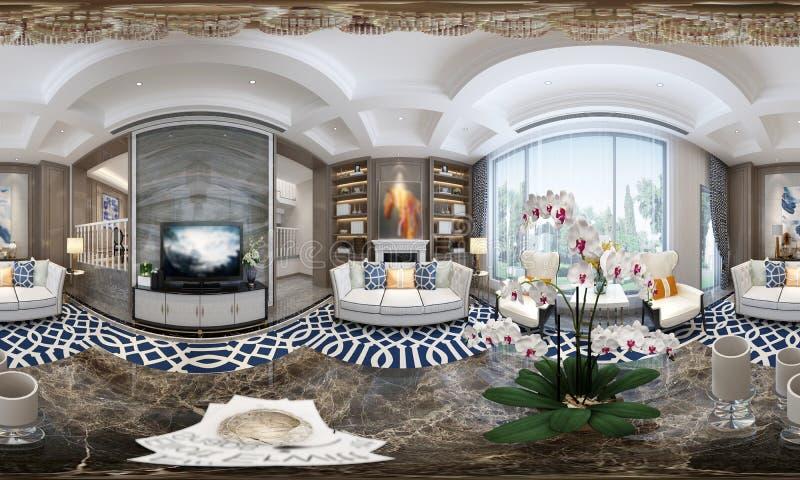 360 grader av hemmiljön, vardagsrum vektor illustrationer