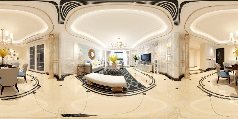 360 grader av hemmiljön, vardagsrum stock illustrationer