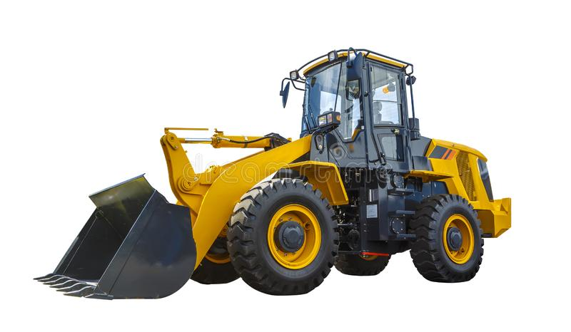 Grader and Excavator Construction Equipment with clipping path isolated on white background stock photo