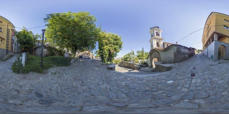 360 grader panorama av den kyrkliga heliga modern av guden i Plovdiv, Bu arkivbild