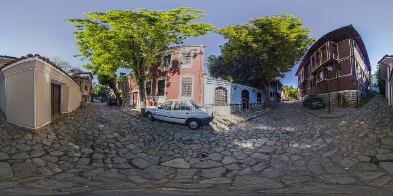 360 grader panorama av Hus-museet Hindliyan i Plovdiv, Bulga fotografering för bildbyråer