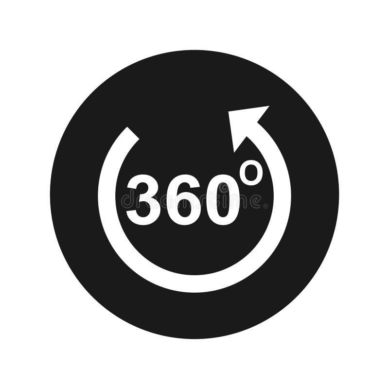 360 grader roterar illustrationen för vektorn för knappen för pilsymbolen den plana svarta runda stock illustrationer