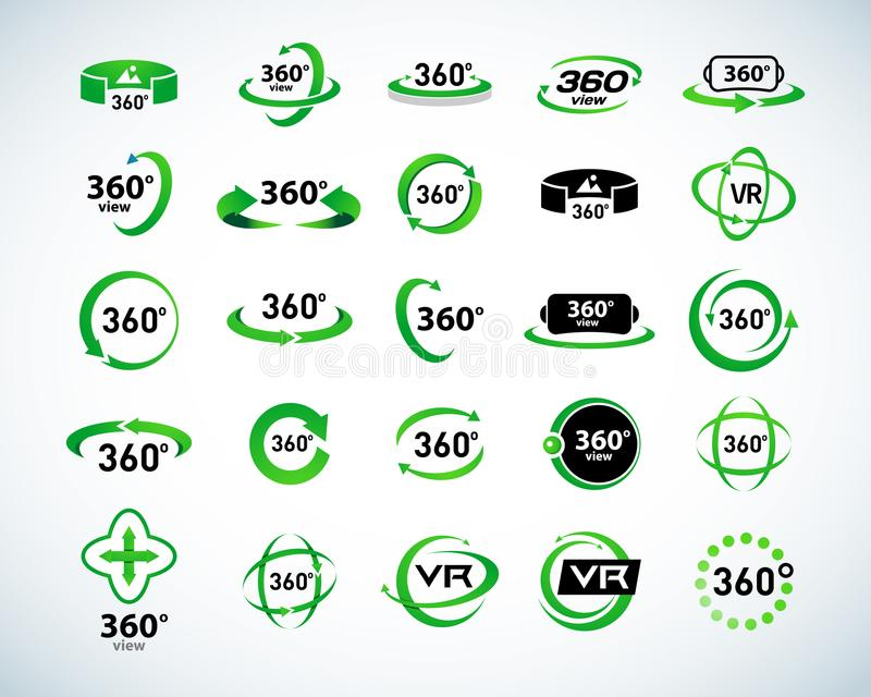 360 grader uppsättning för siktsvektorsymboler Virtuell verklighetsymboler Isolerade vektorillustrationer Version för grön färg stock illustrationer