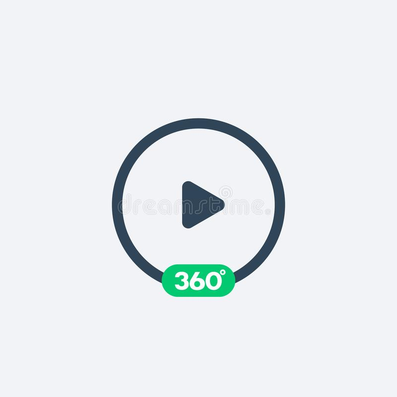 360 grader video leksymbol stock illustrationer