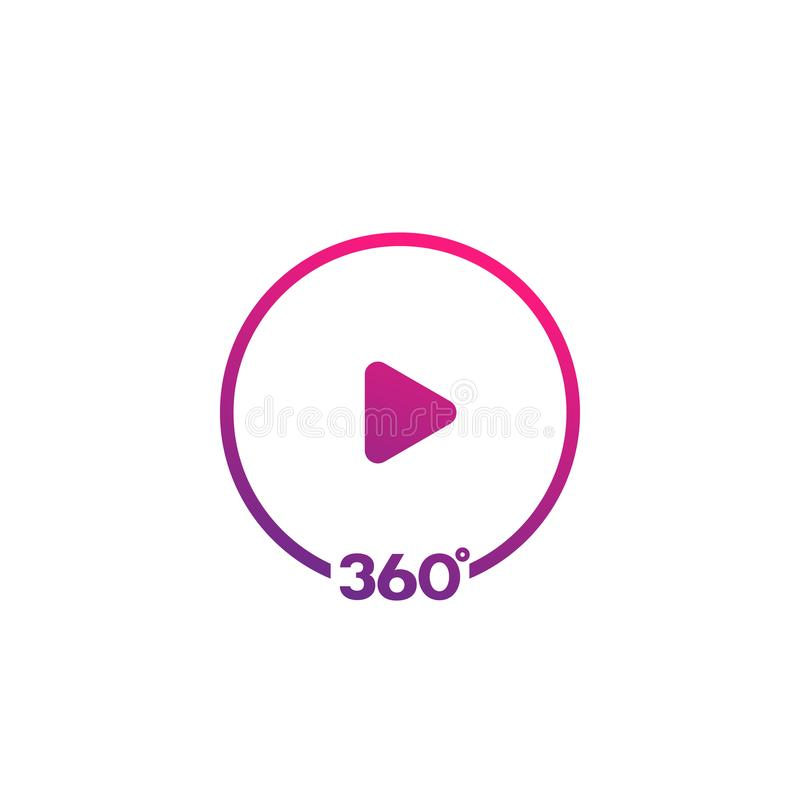 360 grader videosymbol royaltyfri illustrationer