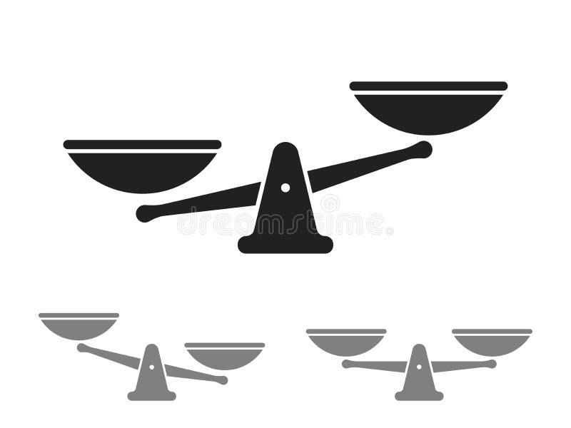 Gradera vektorsymbolen av vikt- eller rättvisavåg stock illustrationer