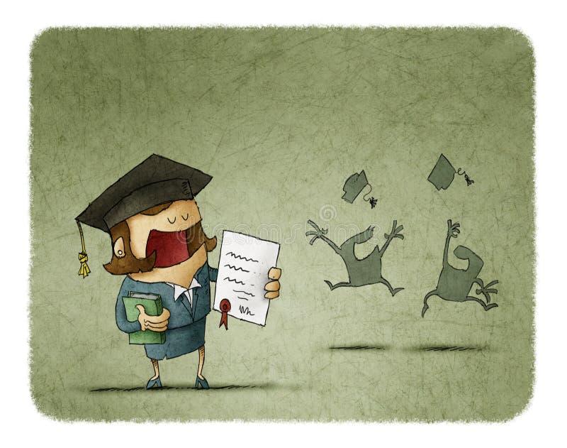 Graderad student med den diplompapper och boken stock illustrationer