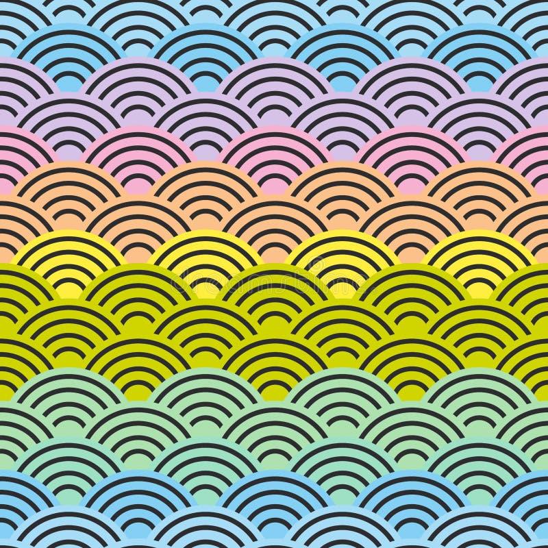 graderar sömlöst modellabstrakt begrepp för regnbågen purpurfärgade rosa gula blåa gröna pastellfärgade färger för enkel cirkel f royaltyfri illustrationer