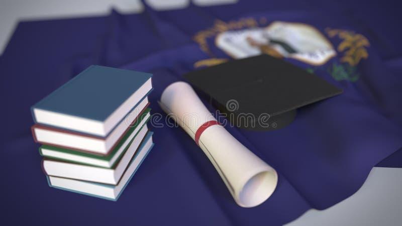 Graderingstak, böcker och diplom på Kentucky-flaggan Högre utbildning i USA-relaterad 3D-rendering vektor illustrationer