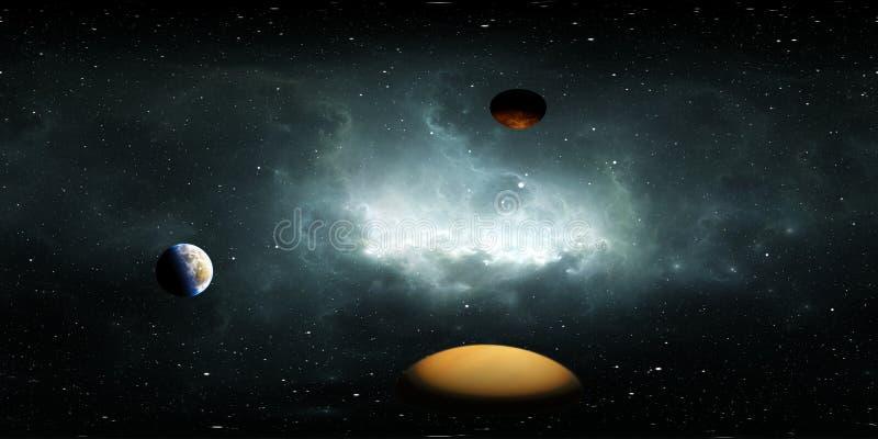 360 graders bakgrundsbild med förklarande eller extrakolära planeter, nebula och stjärnor, ekvirektangulär projektion, miljökarta stock illustrationer