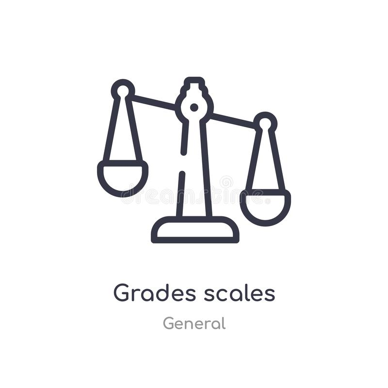 Grades scales outline icon. isolated line vector illustration from general collection. editable thin stroke grades scales icon on. White background stock illustration