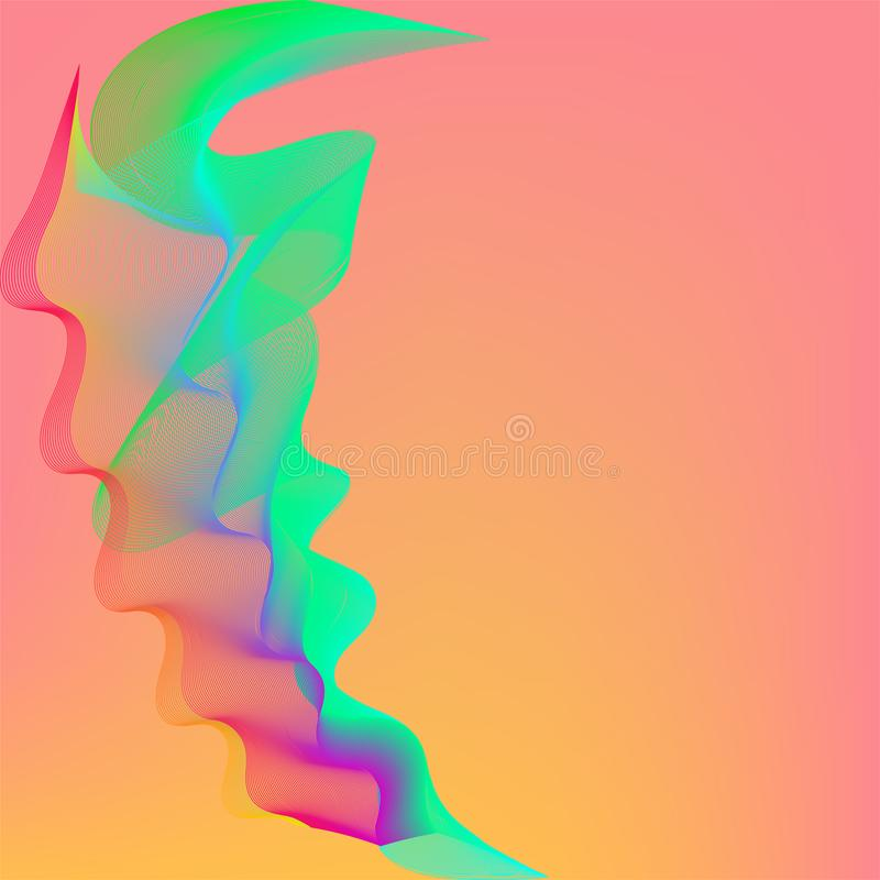 Gradi?nt abstracte achtergrond met dynamische lineaire golven stock illustratie
