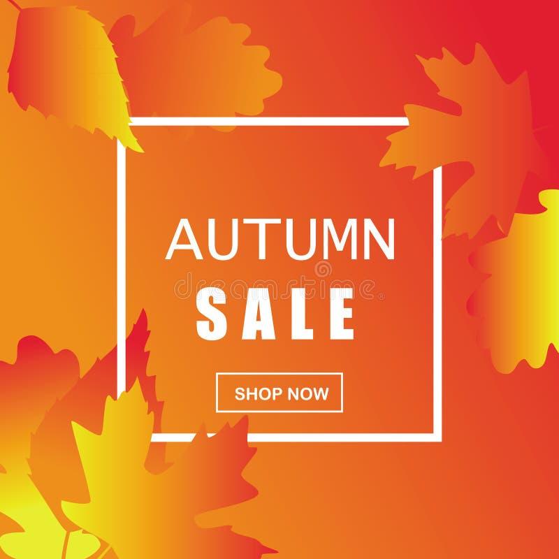 gradiënt in geeloranje tonen, de achtergrond van de de herfstverkoop met wit kader, voor reclame, vectorillustratie stock illustratie