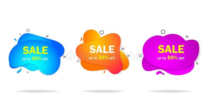 In gradiënt organische vloeibare vorm met verkoop Grafische isometrische illustratie met verkoopaanbieding voor kleinhandels, soc royalty-vrije illustratie