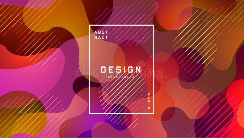 Gradiënt vloeibare kleurrijke achtergrond Vloeibaar vormen futuristisch concept Creatief geometrisch behang Ontwerp voor banners royalty-vrije illustratie