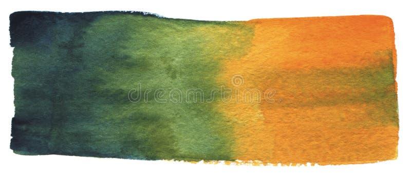 Gradiënt waterverf de abstracte van de achtergrondkwaststreek groene en gele kleur Hand het getrokken watercolour schilderen op w vector illustratie