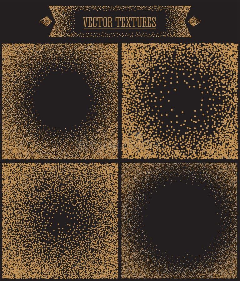 Gradiëntachtergrond met Gouden Punten Dotwork vector illustratie