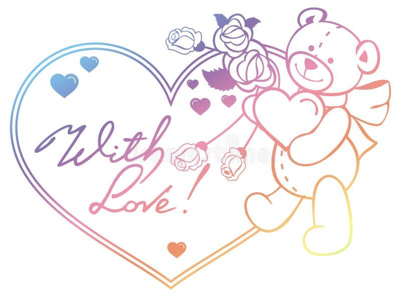 Gradiëntkleur hart-vormig kader met overzichtsrozen, teddybeer royalty-vrije stock afbeelding