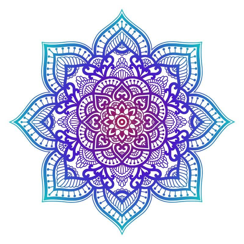 Gradiëntmandala Cirkel etnisch ornament Hand getrokken traditioneel Indisch rond element De geestelijke henna van de meditatieyog royalty-vrije illustratie