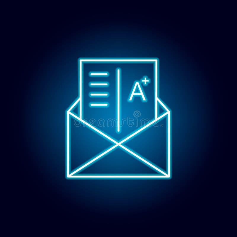 gradi, esame, lettera, icona del profilo del segno nello stile al neon elementi della linea icona dell'illustrazione di istruzion royalty illustrazione gratis