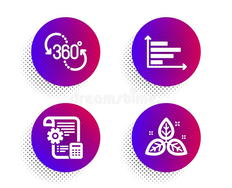 360 gradi, modello delle regolazioni ed insieme orizzontale delle icone del grafico segno del commercio equo e solidale Vettore illustrazione vettoriale
