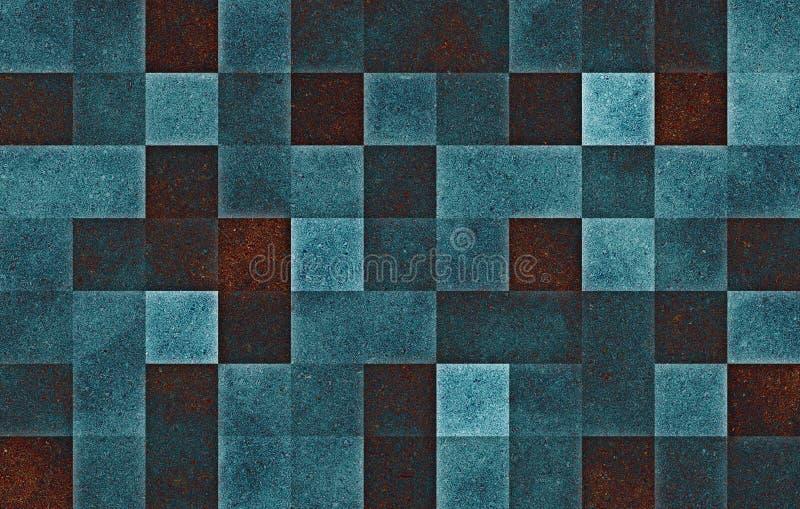 Gradi?nt geometrische vierkante blokken Het blauw schittert cellentextuur abstracte achtergrond vector illustratie