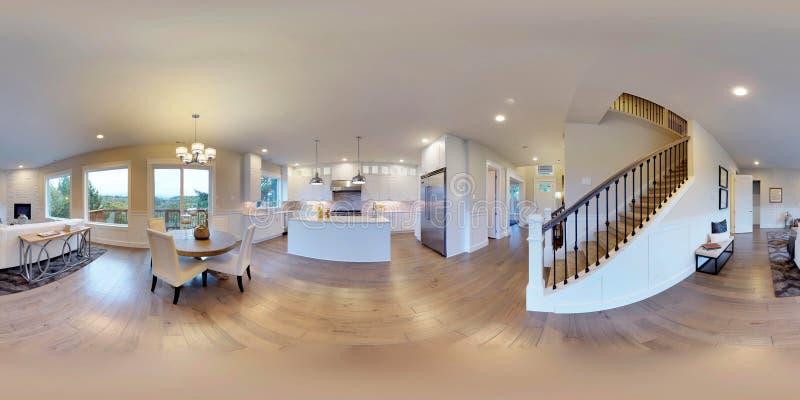 gradi sferici dell'illustrazione 3d 360, panorama senza cuciture di interior design illustrazione vettoriale