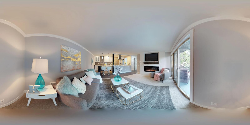 gradi sferici dell'illustrazione 3d 360, un panorama senza cuciture del salone immagini stock libere da diritti