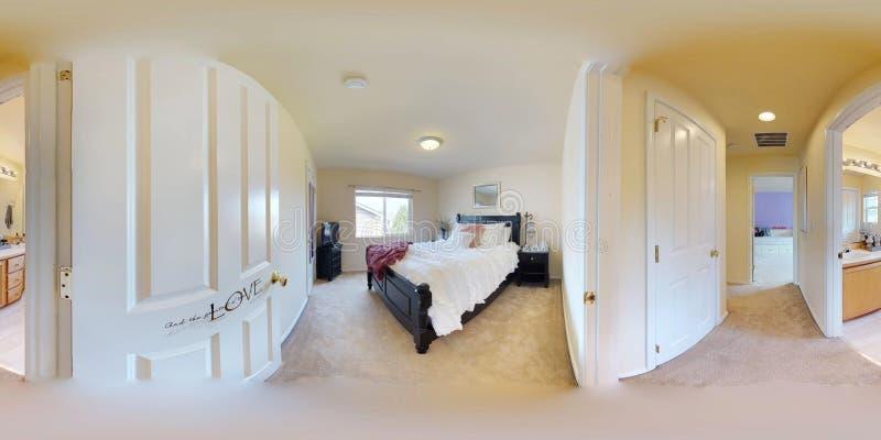 gradi sferici dell'illustrazione 3d 360, un panorama senza cuciture della camera da letto con letto a due piazze fotografia stock