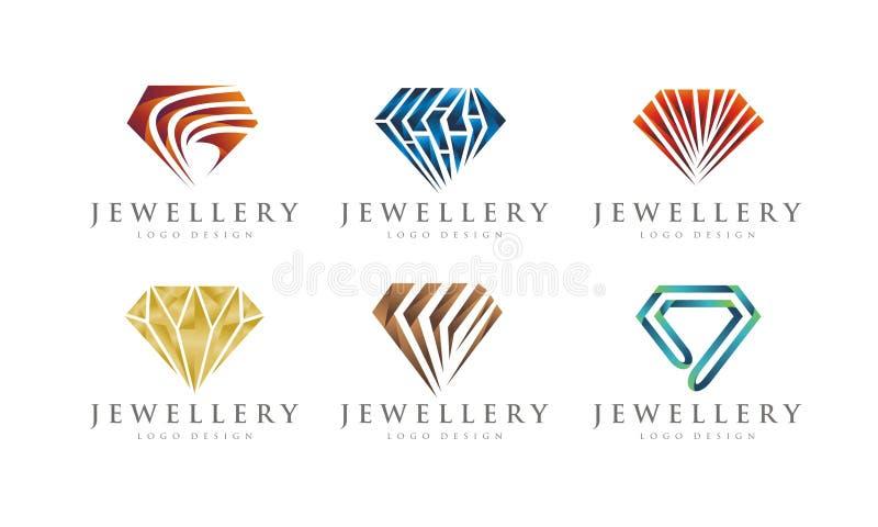 GRADIEN JEWELERY / JEWEL SET 1 LOGO DESIGN. Collection of Editable GRADIEN JEWELERY / JEWEL SET 1 LOGO DESIGN royalty free illustration