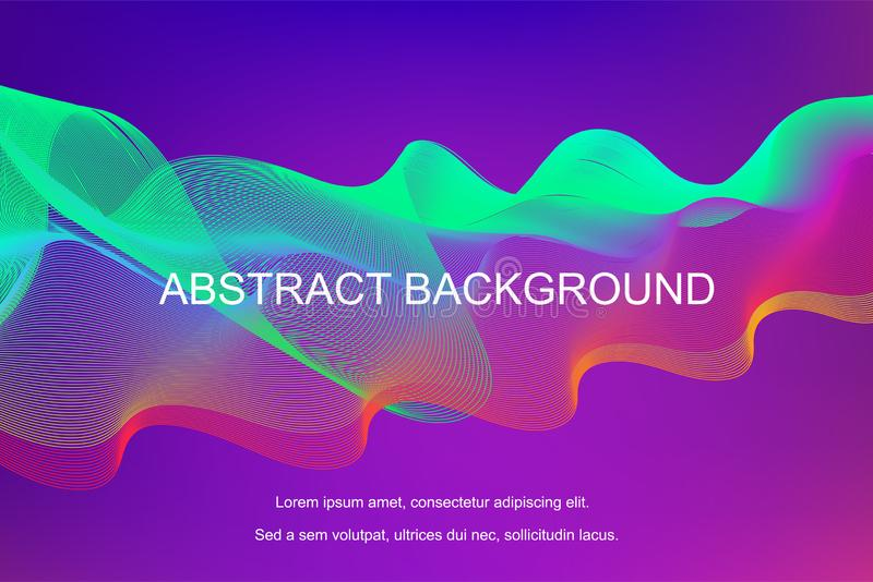 Gradient abstract background with dynamic linear waves stock illustration